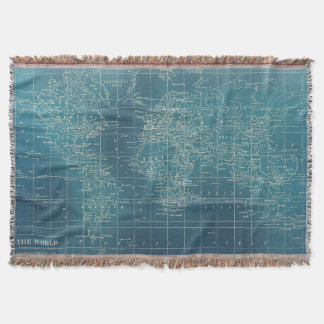 Dark Teal World Map Woven Blanket