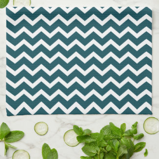 Dark Teal Zig Zag Chevrons Pattern Kitchen Towels