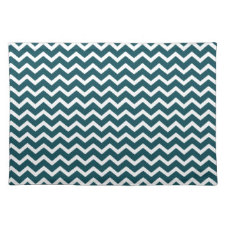 Dark Teal Zig Zag Chevrons Pattern Placemat