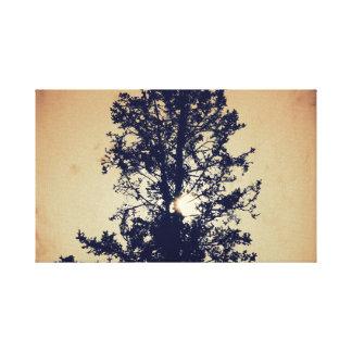 Dark tree silhouette on canvas