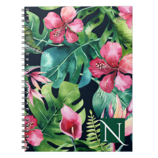 Dark Tropical Palm Leaves Hibiscus Floral Island Notebook