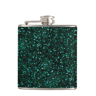 Dark Turquoise Blue Green Glitter Hip Flasks