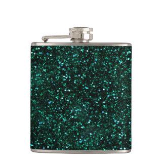 Dark Turquoise Blue Green Glitter Hip Flasks