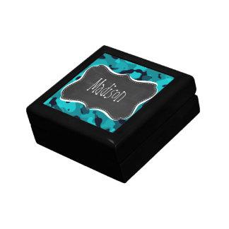 Dark Turquoise Camo; Chalkboard look Small Square Gift Box