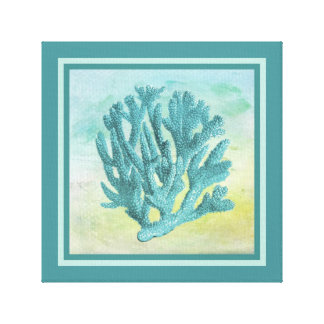 Dark Turquoise Coral Branch Canvas Print