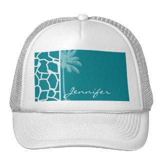 Dark Turquoise Giraffe Print; Summer Palm Trucker Hat