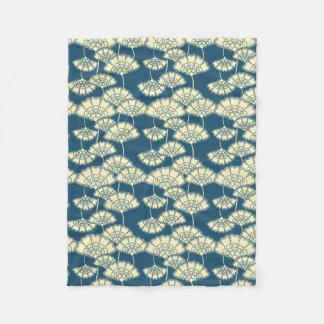 Dark turquoise gold foil floral Japanese pattern Fleece Blanket