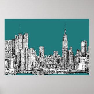 Dark turquoise NYC Print