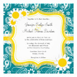 Dark Turquoise Paisley; Daisy Personalized Announcement