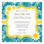 Dark Turquoise Paisley; Daisy Personalised Invite