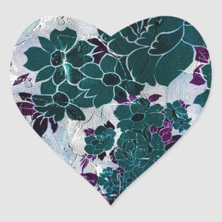 Dark Turquoise Purple Rose Texure Heart Sticker