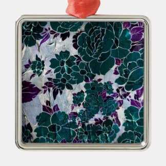 Dark Turquoise Purple Rose Texure Silver-Colored Square Decoration