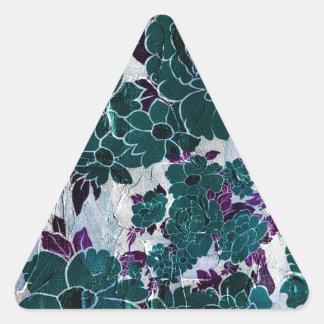 Dark Turquoise Purple Rose Texure Triangle Sticker