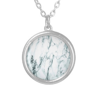 Dark Turquoise Vein Marble Look Silver Plated Necklace