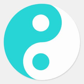 Dark Turquoise Yin Yang Symbol Round Sticker