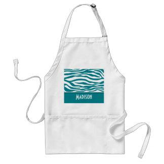 Dark Turquoise Zebra Stripes; Personalized Standard Apron