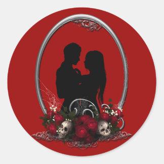 Dark Union Vampire Goth Wedding Round Sticker