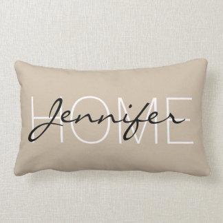 Dark vanilla colour home monogram lumbar pillow