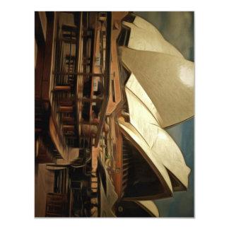Dark view of Sydney Opera house 11 Cm X 14 Cm Invitation Card