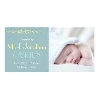 Dark Vintage Blue Birth Announcement Photo Card 2