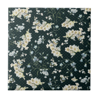 Dark vintage flower wallpaper pattern small square tile