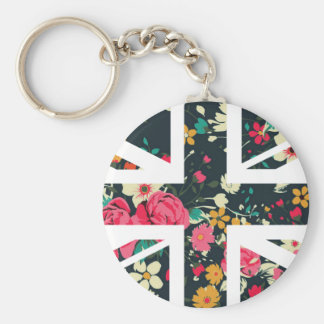 Dark Vintage Rose Union Jack British(UK) Flag Key Chains