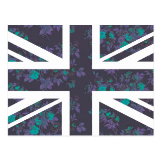 Dark Vintage Rose Union Jack British(UK) Flag Postcard