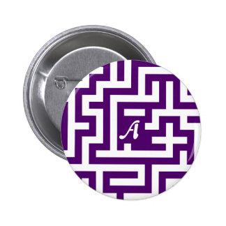 Dark Violet and White Maze Monogram Pinback Button