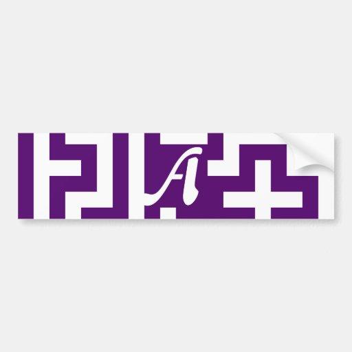 Dark Violet and White Maze Monogram Bumper Sticker