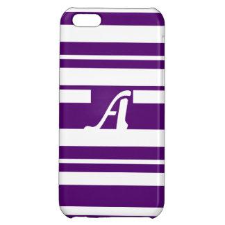 Dark Violet and White Random Stripes Monogram iPhone 5C Cases