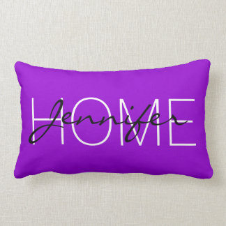 Dark violet colour home monogram lumbar cushion