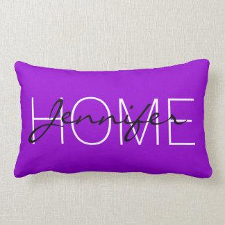 Dark violet colour home monogram lumbar pillow