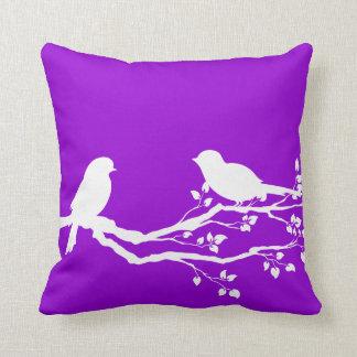 Dark Violet Country Birds At Rest Cushion