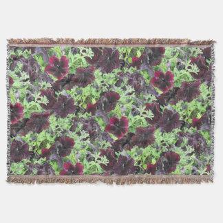 Dark Violet Petunias Throw Blanket