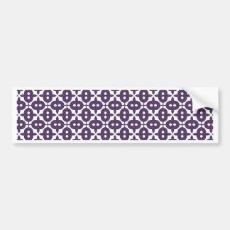 Dark Violet Plum And White Pattern Bumper Sticker