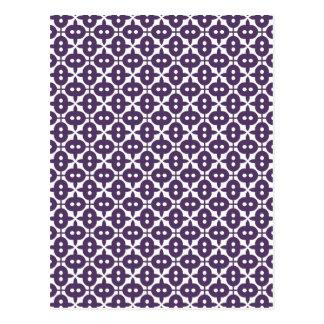 Dark Violet Plum And White Pattern Postcard