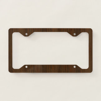 Dark Walnut Brown Bamboo Wood Grain Look Licence Plate Frame