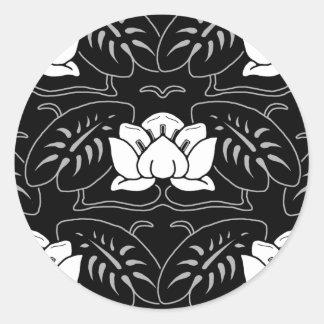 Dark Water Lily Motif Round Sticker