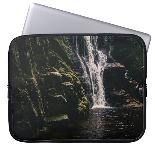 Dark Waterfall and A Lake, Nature Photograph Laptop Sleeve
