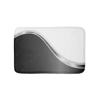 Dark Wave Abstract (B/W) Bath Mats