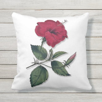 Dark Wine Red Hibiscus Flower Outdoor Cushion