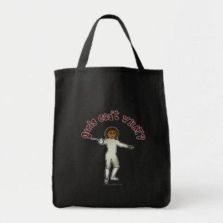 Dark Woman Fencing Grocery Tote Bag
