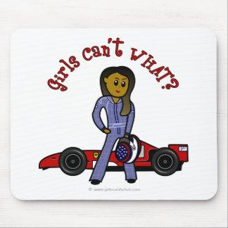 Dark Woman Race Car Driver Mousepad
