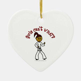 Dark Womens Karate Ceramic Heart Decoration
