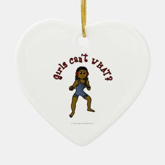 Dark Womens Wrestling Ceramic Ornament