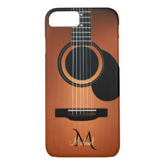 Dark Wood Acoustic Guitar  Monogram iPhone 8/7 Case