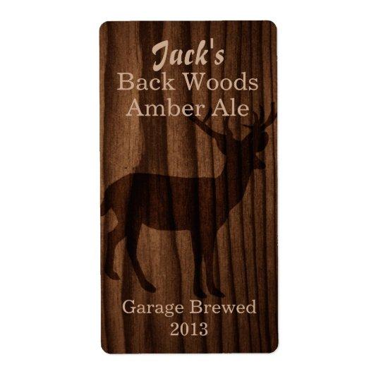 Dark Wood & Deer Silhouette Home Brew Beer Label