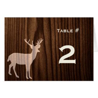 Dark Wood Deer Wedding Reception Table Number