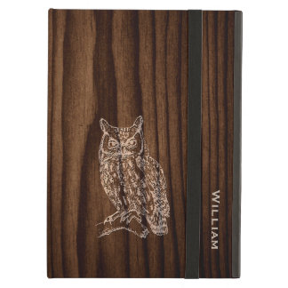 Dark Wood Grain Look with Owl iPad Air Case