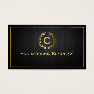Dark Wood Monogram Civil Engineer Business Card